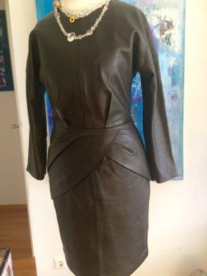 SET Luxus Leder lammnappa Kleid schwarz 34 gefüttert Etikette npr 579