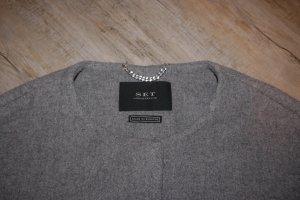 Set Mantel Wolle hellgrau grau oversize Top Zustand