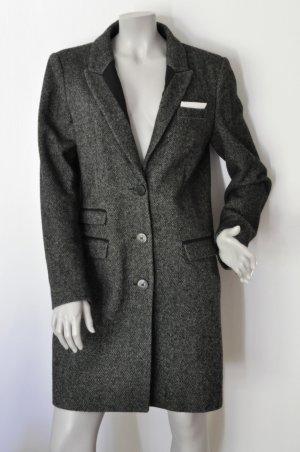SET Mantel Wolle Pfeffer-und-Salz-Muster schwarz Gr. 40