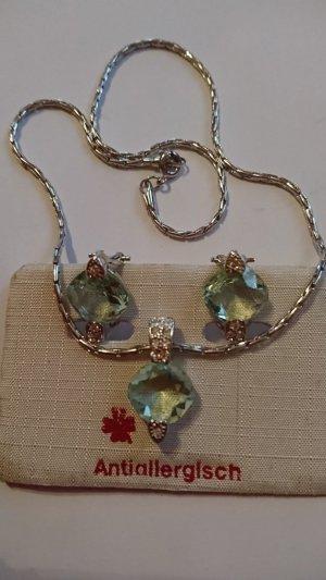 Set Ohrringe und Halskette/ Collier antiallergisch Zirkonia Steine Hellgrün und Klar Zirkonia