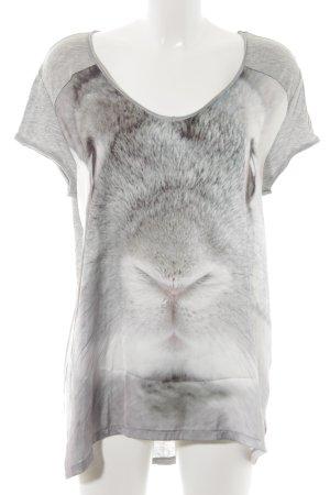Set Print-Shirt hellgrau Motivdruck Animal-Look