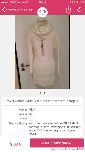 Set Pullover + Kleid + Wollweiß Strick