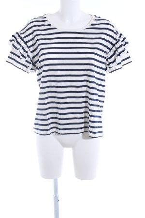 Set Camisa de rayas blanco-azul oscuro estampado a rayas look casual