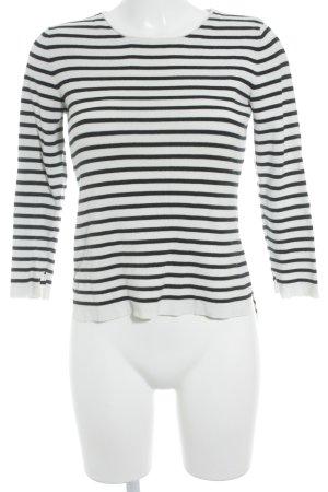 Set Rundhalspullover weiß-schwarz Streifenmuster Casual-Look