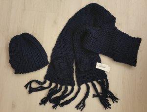 Set - Schal und Haube (Mütze) in dunkelblau    - NEU