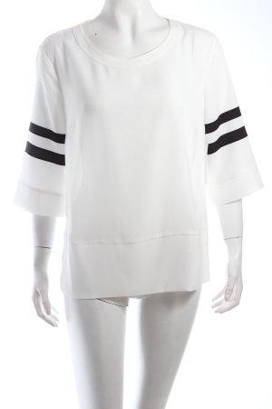 Set Schlupf-Bluse weiß-schwarz Ringelmuster schlichter Stil
