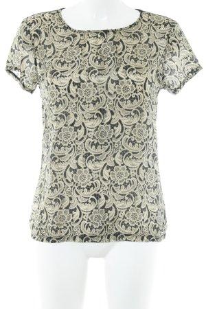 Set Shirttunika schwarz-sandbraun florales Muster Elegant