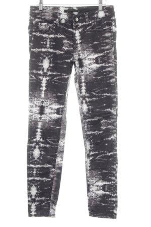 Set Skinny Jeans dunkelgrau-weiß Batikmuster Casual-Look