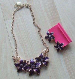 Statement Necklace gold-colored-dark violet