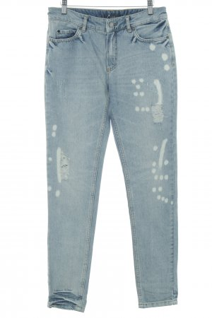 Set Straight-Leg Jeans kornblumenblau Destroy-Optik