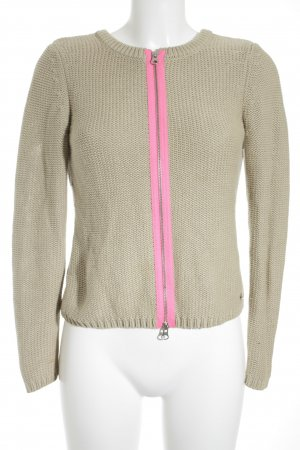 Set Strickjacke beige-pink Zopfmuster Casual-Look