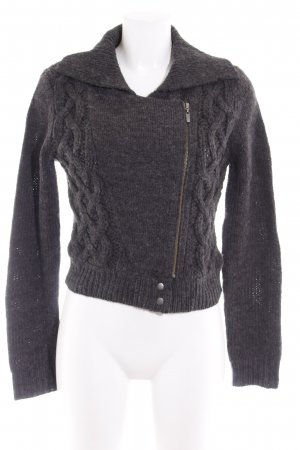 Set Strickjacke dunkelgrau Zopfmuster Casual-Look