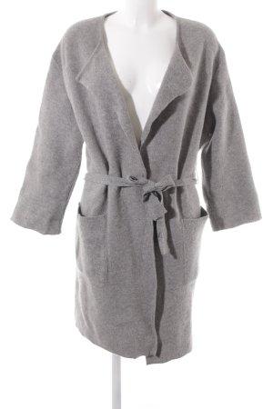 Set Gebreide jas lichtgrijs gestippeld casual uitstraling