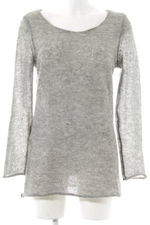Set Pull tricoté gris-argenté style décontracté