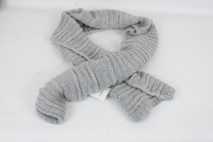 Set Knitted Scarf silver-colored-light grey mixture fibre