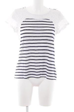 Set Strickshirt weiß-dunkelblau Streifenmuster Segel-Look