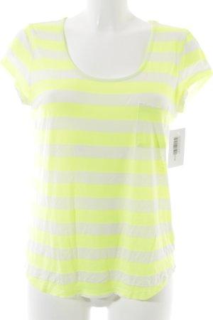 Set T-Shirt neongrün-wollweiß Streifenmuster schlichter Stil