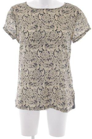 Set T-Shirt schwarz-goldfarben florales Muster extravaganter Stil