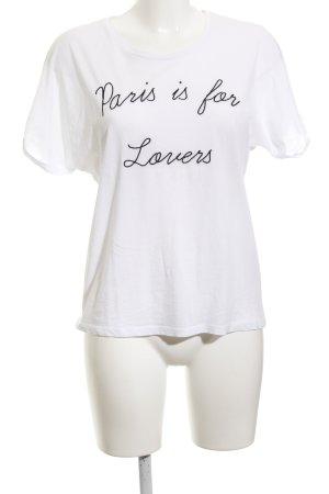 Set T-Shirt weiß-schwarz Schriftzug gestickt Casual-Look