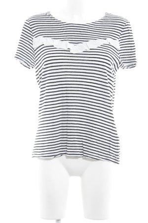 Set T-Shirt weiß-schwarz Streifenmuster Casual-Look