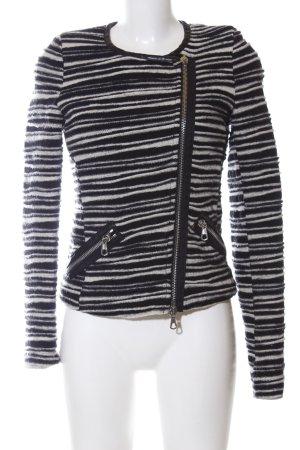 Set Tweedblazer schwarz-weiß Streifenmuster Casual-Look
