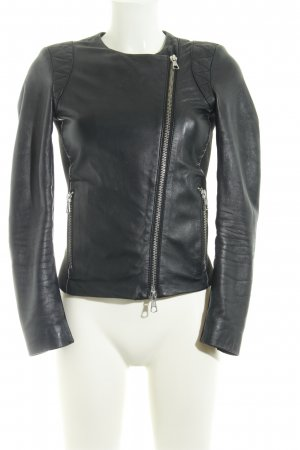 SET Urban Deluxe Leather Jacket black quilting pattern biker look