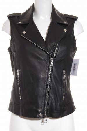 SET Urban Deluxe Leather Vest black biker look