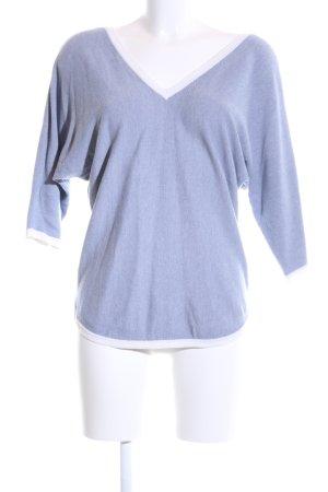 Set Maglia con scollo a V blu-bianco puntinato stile casual