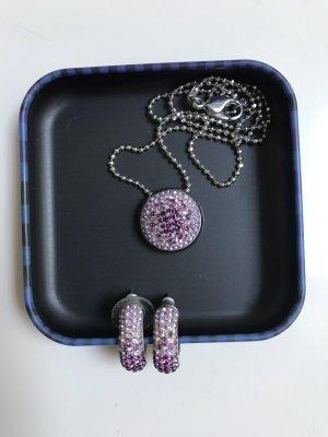 Set von Swarovski Ohrringe und Kette in lila