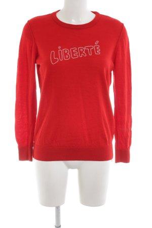 Set Jersey de lana rojo-blanco letras impresas look casual