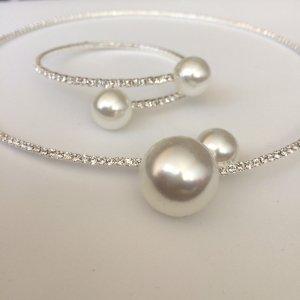 Setpreis Kette und Armband Perlen strass Modeschmuck Brautschmuck