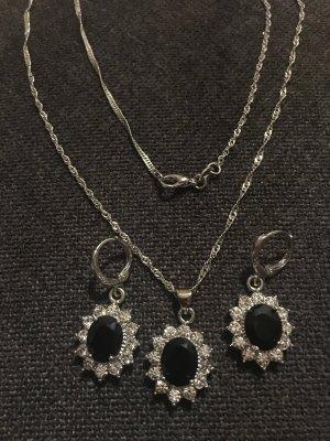 Setpreis Kette und Ohrringe 925 gestempelt schwarz