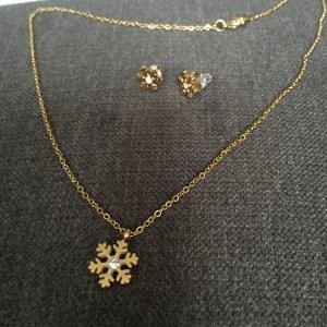 Setpreis Kette und Ohrstecker Schneeflocke Stern gold aus Edelstahl