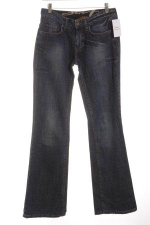 Seven Boot Cut Jeans dunkelblau-wollweiß Washed-Optik