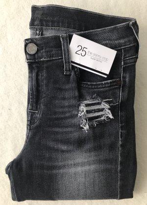 SEVEN FOR ALL MANKIND - The Skinny - schwarz distressed Pailletten - W25 - 1 x getragen