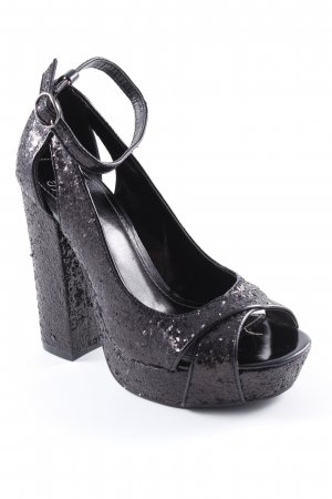 Seven seconds High Heel Sandaletten schwarz Glitzer-Optik