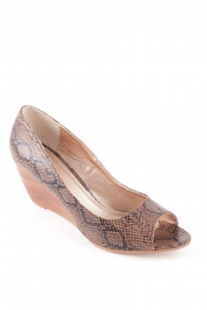 Seven seconds Wedge Sandals dark brown-brown animal print