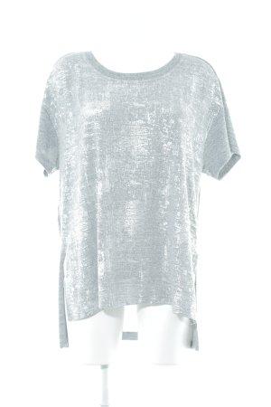 Seven7 Camisa tejida gris claro-color plata moteado look casual