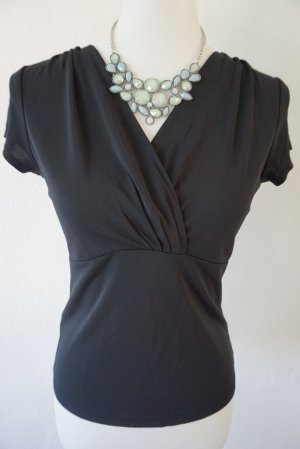 Ann Taylor Short Sleeved Blouse black rayon