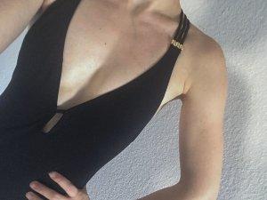 Sexy Badeanzug schwarz rückenfrei