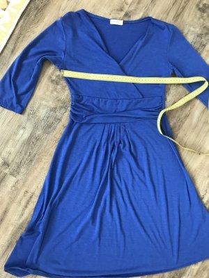 Sexy blaues Kleid mit Wickeldekollete Gr. 36