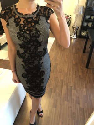 Sexy Bleistift-Kleid in Grau mit schwarzer Spitze Gr. 38