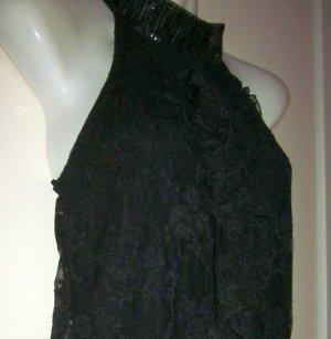 sexy Bluse ärmelos Shirt Longbluse Top Spitze transparent schwarz vorn unterfüttert 34 36 38 XS S M
