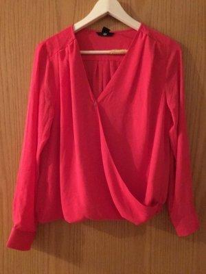 Sexy  bluse in wickeloptik h&m gr. 34/36 hemd bluse oberteil pink rosa coral