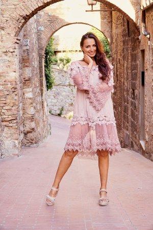 Vestido Hippie color rosa dorado Algodón
