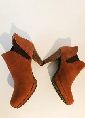 Sexy Boots, Paul Green Stiefeletten, Wildleder, cognacfarben Gr. 37, hoher Absatz
