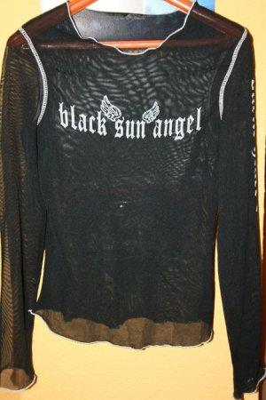 """SEXY COOLE SCHWARZE DURCHSICHTIGE SHIRT """"BLACK SUN ANGEL"""" GR 36/38"""