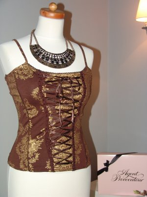 °°°Sexy Corsage- Bustier- Top, Pin Up,Gr.S, braun-gold°°°