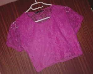 Sexy Crop Shirt in Pink / Spitze