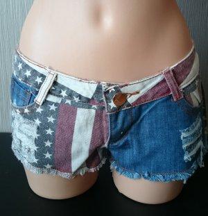 Shorts blanco-azul Algodón